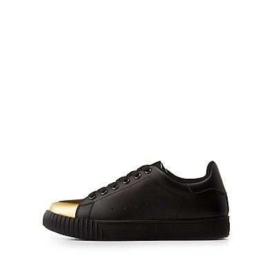 Gold Cap Toe Lace-Up Sneakers
