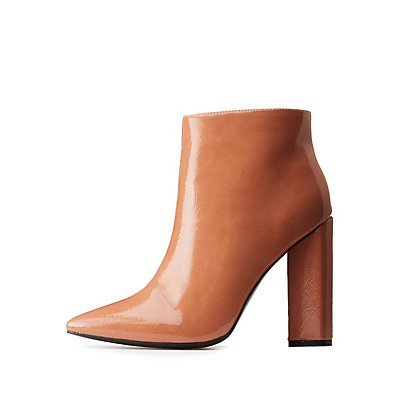 Qupid Patent Pointed Toe Booties
