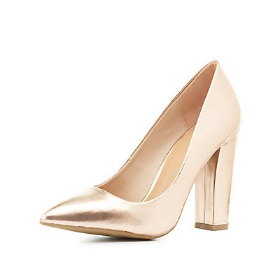 Bamboo Metallic Pointed Toe Pumps