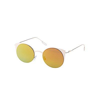 Metal-Trim Reflective Cat Eye Sunglasses