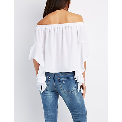 Off-The-Shoulder Cascade Sleeve Top