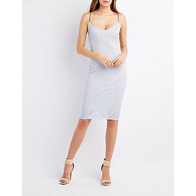 Textured Mesh Slip Dress