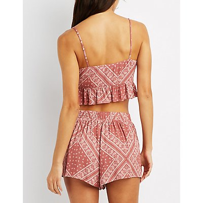 Paisley Lace-Up Crop Top