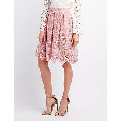 Embroidered Crochet Midi Skirt