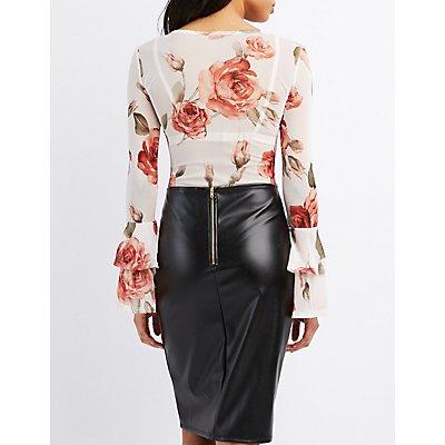Floral Mesh Bell Sleeve Bodysuit