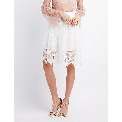 Embroidered Crochet Midi Skirt