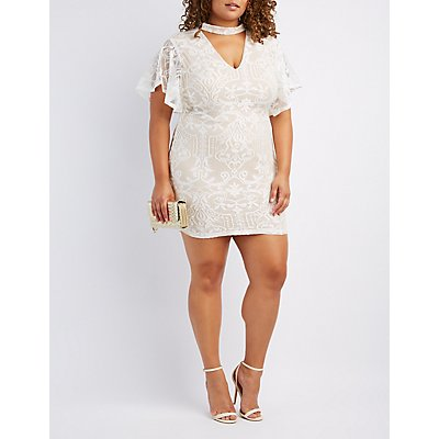 Plus Size Lace Choker Neck Bodycon Dress