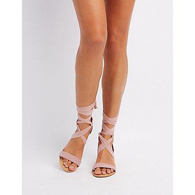 Chiffon Lace-Up Sandals