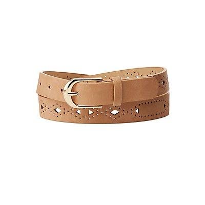 Laser Cut Faux Leather Belt