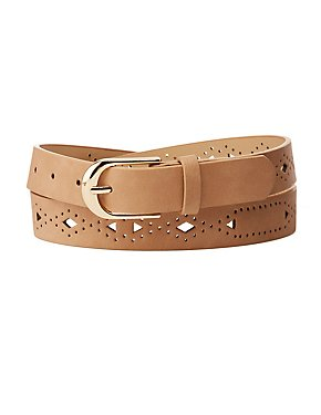 Laser Cut Faux Leather Belt