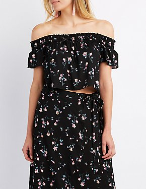Floral Smocked Off-The-Shoulder Crop Top