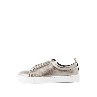 Qupid Metallic Slip-On Sneakers