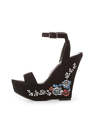 Embroidered Two-Piece Wedge Sandals