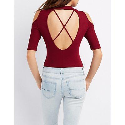 Mock Neck Cold Shoulder Bodysuit