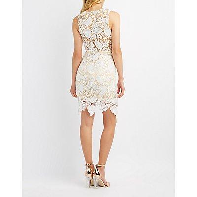Lace & Mesh Bodycon Dress