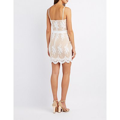 Embroidered Overlay Bodycon Dress