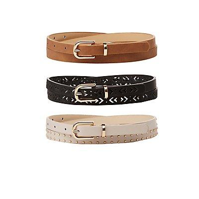 Plus Size Studded, Laser Cut & Faux Leather Belts - 3 Pack
