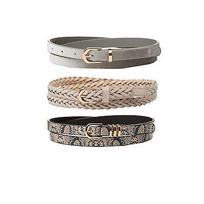 Plus Size Braided, Faux Snakeskin & Velvet Belts - 3 Pack