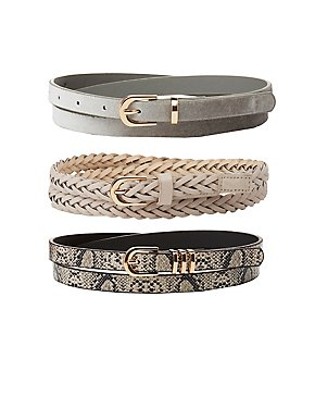 Plus Size Braided, Faux Snakeskin & Velvet Belts - 3 Pack