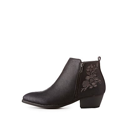 Wide-Width Embroidered Ankle Boots