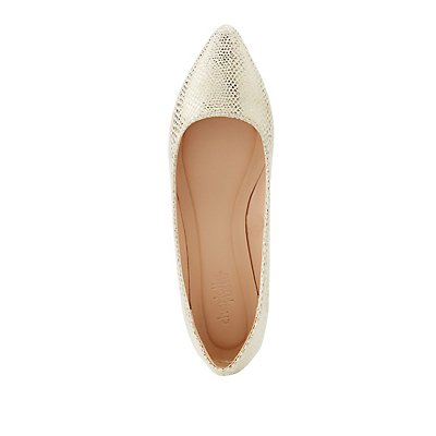 Faux Snakeskin Pointed Toe Flats