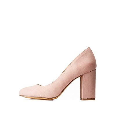 Almond Toe Block Heel Pumps