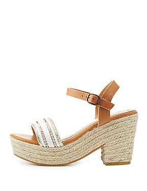 Bamboo Beaded Platform Espadrille Sandals