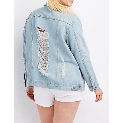 Plus Size Destroyed Denim Boyfriend Jacket