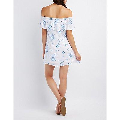 Embroidered Off-The-Shoulder Shift Dress
