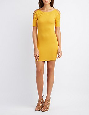 Ribbed Lattice-Inset Bodycon Dress
