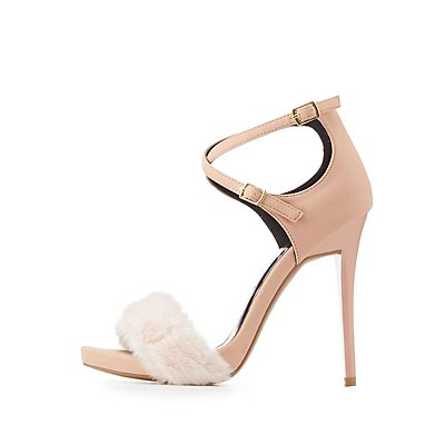 Faux Fur-Trim Two-Piece Sandals