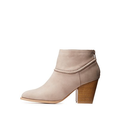 Qupid Chunky Heel Ankle Booties