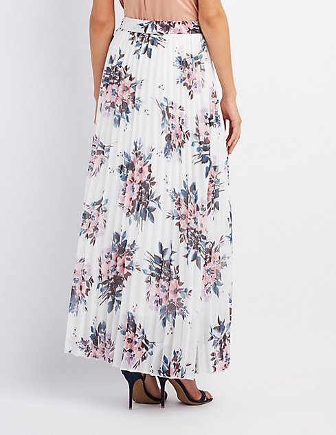Floral Pleated Maxi Skirt | Charlotte Russe