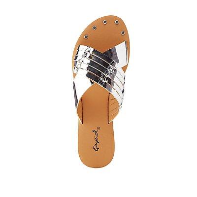 Qupid Crisscross Slide Sandals