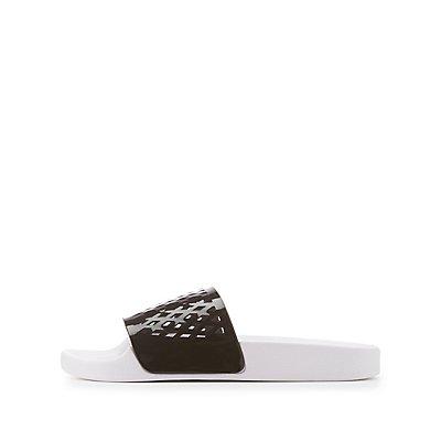 Qupid Laser Cut Slide Sandals