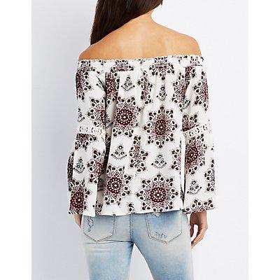 Printed Smocked Off-The-Shoulder Top