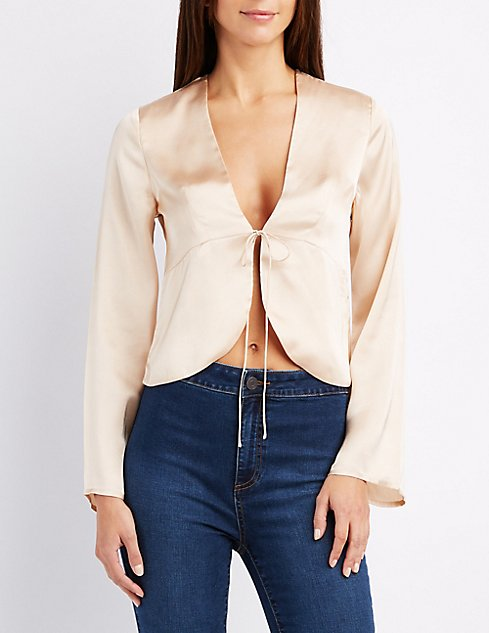 Satin tie front top charlotte russe satin tie front top ccuart Gallery