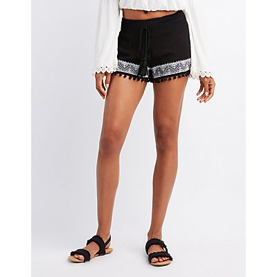 Embroidered Smocked Shorts