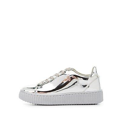 Qupid Metallic Flatform Sneakers