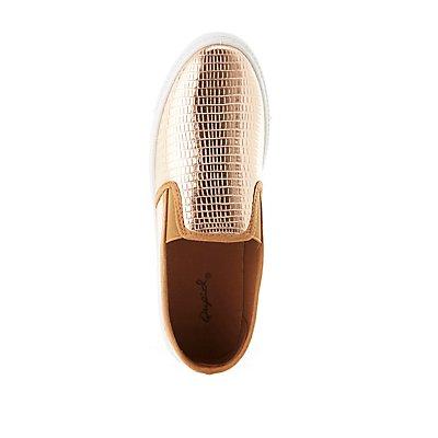 Qupid Faux Snakeskin Slip-On Sneakers