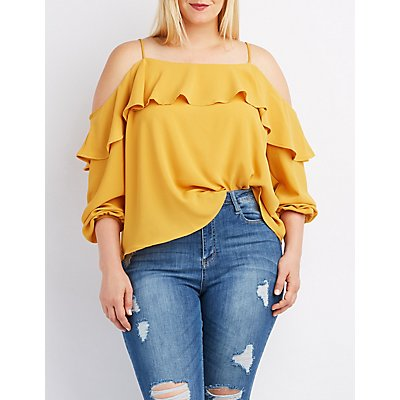 Plus Size Ruffle-Trim Cold Shoulder Top