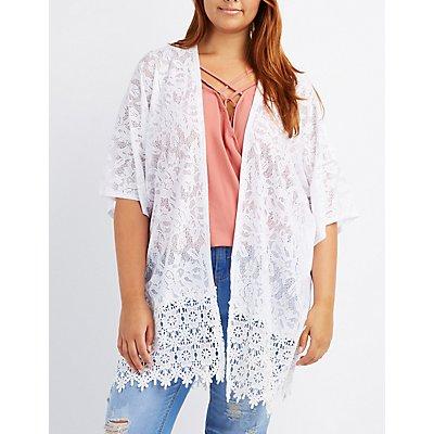 Plus Size Crochet-Hem Lace Kimono