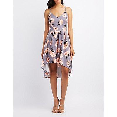 Floral High-Low Skater Dress