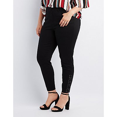 Plus Size Refuge Skinny Lace-Up Jeans