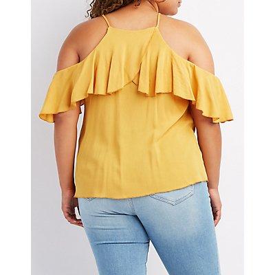 Plus Size Ruffle-Trim Bib Neck Top