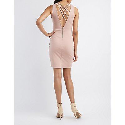 Lattice-Back Plunging Bodycon Dress