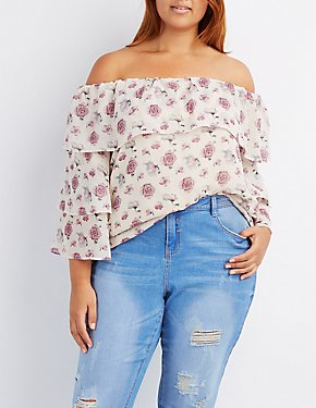 Plus Size Floral Off-The-Shoulder Ruffle Top