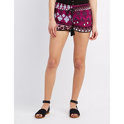 Printed Crochet-Trim Shorts