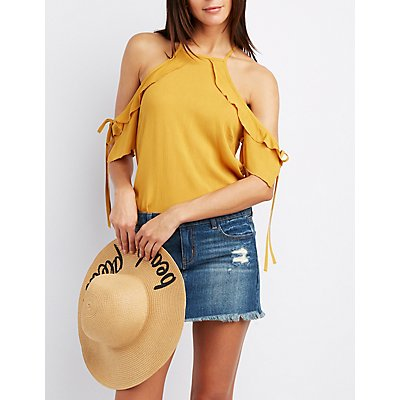 Ruffle-Trim Cold Shoulder Tie Top