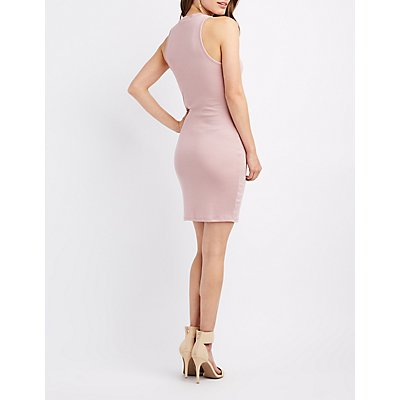 Mock Neck Strappy Bodycon Dress
